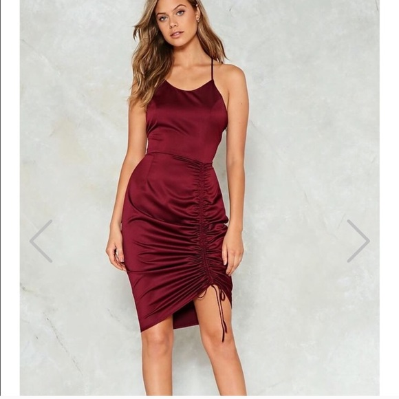 87a524777a Nasty Gal ruched cami dress in burgundy